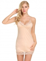 Apricot Women Sexy Soft Lace Trim Slim Fit Babydoll Chemise Full Slips Sleepwear