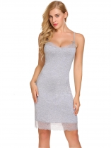 Gray Babydoll Chemise Nightwear with G-String Sexy Lingerie