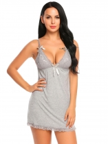 Gray Sexy Lingerie Chemise Sheer Lace Patchwork Mini Babydoll Set