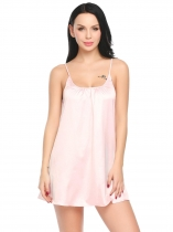 Light pink Women Satin Patchwork Sexy Adjustable Spaghetti Strap Chemise G-string Lingerie Pajamas