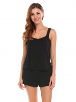 Noir Femmes Summer Sleepwear Lace Trim lâche Tank Top & Shorts Pyjama ensemble