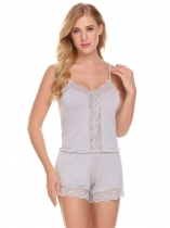 Light gray Sexy Lingerie Spaghetti Strap Lace Trim Open Back One-Piece Romper Sleepwear
