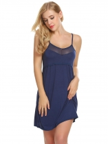 Navy blue Women Sexy Soft Lace Trim Slim Fit Babydoll Chemise Full Slips Sleepwear