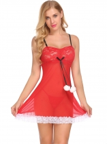 Red Sexy Lingerie Christmas Babydoll Nightwear with G-string