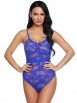 Bleu Femmes Sexy One Piece Lingerie Body Sheer Dentelle Teddy Romper Ensemble de vêtements de nuit