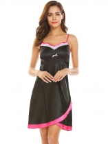 Black Adjustable Spaghetti Straps Lace Patchwork Bow Tie Sexy Sleepwear Dress