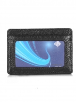 Black Unisex Synrthetic Leather RFID Blocking Front Card Pocket Wallet
