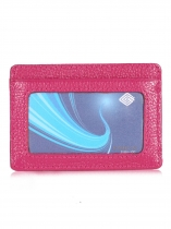 Rose Red Unisex Synrthetic Leather RFID Blocking Front Card Pocket Wallet