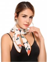 White Retro Style Large Satin Square Cotton Scarf