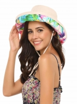 Cotton Big Brim Hat with Inner Drawstring