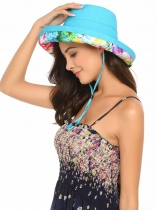 Azul Moda Feminina Summer Spring Cotton Big Brim Hat com Drastring Interno