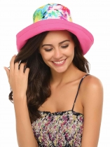 Rose Red Moda Feminina Summer Spring Algodão Big Brim Hat com Drastring Interno