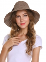 Foldable Stripe Bow Tie Round Wide Sun Hats