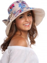 Fordable Patchwork Sun Hat with Adjustable Strap