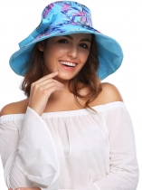 Women Fashion Foldable Patchwork Randonnée Wedding Party Sun Hat avec sangle réglable