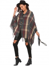 Grey Soft Blanket Contrast Color Fringed Oversized Wraps Scarf