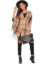Khaki Soft Blanket Contrast Color Fringed Oversized Wraps Scarf