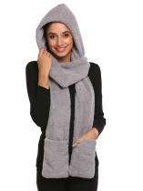 Gray Fleece Solid Gloves Pocket Long Hooded Scarf