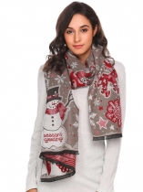 Grey Christmas Print Tassel Shawl Wrap Neck Stole Long Blanket Scarf