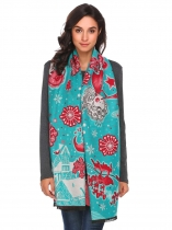 Light blue Christmas Print Tassel Shawl Wrap Neck Stole Long Blanket Scarf