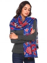 Royal Blue Christmas Print Tassel Shawl Wrap Neck Stole Long Blanket Scarf
