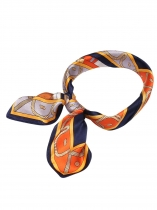 Printed Silk Satin Feeling Square Shawl Scarf