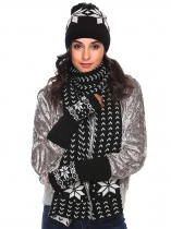 Black Warm Knitted Shawl Wrap Neck Stole Long Scarf Hat Gloves Set
