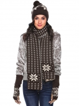 Coffee Warm Knitted Shawl Wrap Neck Stole Long Scarf Hat Gloves Set