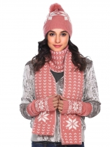 Pink Warm Knitted Shawl Wrap Neck Stole Long Scarf Hat Gloves Set