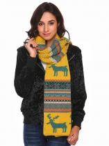 Yellow Geometric Knitted Shawl Wrap Neck Stole Long Scarf