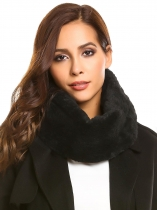 Black Winter Warm Faux Fur Collar Cowl Scarf Solid Neck Warmer