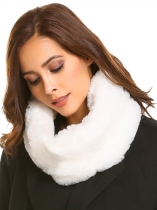 White Winter Warm Faux Fur Collar Cowl Scarf Solid Neck Warmer