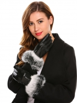 Black Full Winter Sheepskin Cony Hair Trimmed Full Finger Touch Screen Gloves