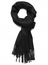 Black Women Fashion Soft Blanket Tassel Solid Fringed Oversized Wraps Scarf