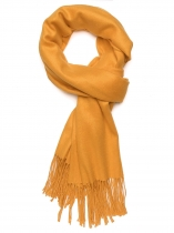 Yellow Women Fashion Soft Blanket Tassel Solid Fringed Oversized Wraps Scarf
