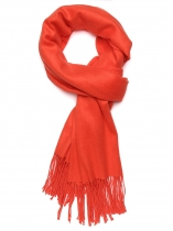 Orange red Women Fashion Soft Blanket Tassel Solid Fringed Oversized Wraps Scarf