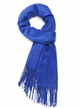 Royal Blue Women Fashion Soft Blanket Tassel Solid Fringed Oversized Wraps Scarf