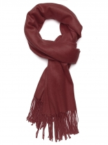 Wine red Femmes Fashion Doux Blanket Tassel solide à franges surdimensionné Wraps écharpe