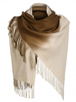 Coffee Women Soft Blanket Tassel Gradient Color Fringed Oversized Wraps Scarf