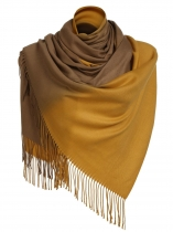 Amarelo Moda Feminina Soft Blanket Tassel Gradient Color Fringed Oversized Wraps Scarf