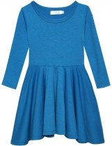 Dark blue New Fashion Kid Girls Casual Long Sleeve Soft Cotton Dresses