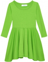 Light green New Fashion Kid Girls Casual Long Sleeve Soft Cotton Dresses