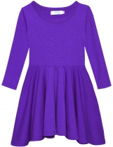 Purple New Fashion Kid Girls Casual Long Sleeve Soft Cotton Dresses