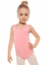 Kids Girl Round Neck Sans manches Cross Cross Strap Solid Dancing Eercising Leotard