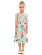Skyblue Kids Girls V-Neck Cap Sleeve Print Cute Dress with Belt