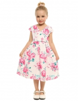 White Kids Girls V-Neck Cap Sleeve Print Cute Dress with Belt