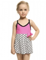 Kids Girl Sleeveless Cross Back One-Piece Swimsuit Swimwear