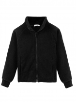Black Kids Girl Stand Neck Solid Cute Fleece Jacket