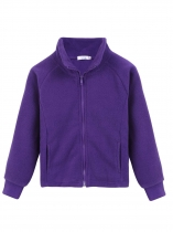 Purple Kids Girl Stand Neck Solid Cute Fleece Jacket