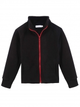 Red Kids Girl Stand Neck Solid Cute Fleece Jacket